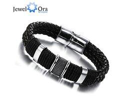 Breed Mens Weave Chain Polsband Lederen Armband Voor Mannen Classic Armband SieradenVoor Man (JewelOra BA101163) <br />  jewelora