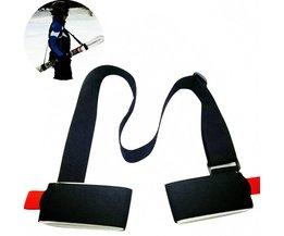 Verstelbare Ski snowboard gemakkelijk rugzak cross country Ski Pole Schouder Hand Carrier Lash Handvat Dual Board Strap bag Zwart <br />  DOTOMY