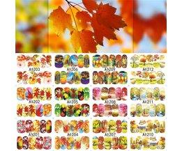 12 Ontwerpen Herfst Esdoornblad Landschap Ontwerp Decals Nail Art Water Transfer Stickers Volledige Wraps Nail Tips Decor LAA1201-1212 <br />  SWEET TREND
