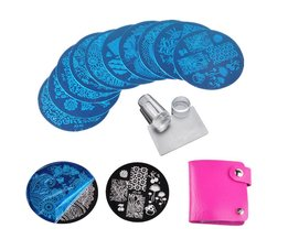 10 Stks Nail Stempelen Platen Polish Stencils Voor Nagels 1 St Rose Rood Template Case Clear Schraper Stamper Nail Art Set Kits <br />  Biutee