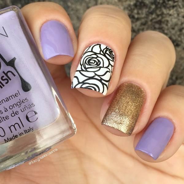 Rose Bloem Nail Art Stamping Template Afbeelding Plaat Geboren