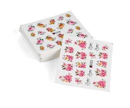 50 vellen WaterNagel Stickers, Mix Ontwerpen Bloem Water Transfer Nail Stickers, Water Decals DIY Decoratie Voor nagels <br />  Mileegirl