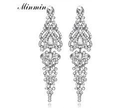 Minmin Clear Crystal Lange Oorbellen voor Vrouwen Elegante Vaas Vorm Bruiloft Oorbellen Mode-sieradenEH291 <br />  minmin