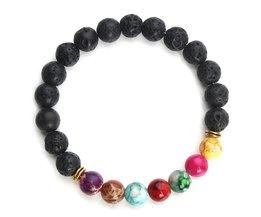 Natuurlijke Zwarte Lava Stone Armbanden 7 Reiki Chakra Healing Balans Kralen Armband Mannen Vrouwen Stretch Yoga Sieraden <br />  Xinyao
