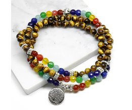 Boom Leven 7 Chakra Tijgeroog Kralen Armband Unisex Kerst NieuwjaarMala 108 Boeddha Healing Man Stone Kralen armband  <br />  <br />  ymorl