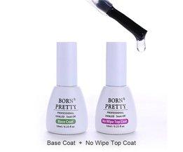 GEBOREN PRETTY Base Jas Geen Veeg Top Coat Set voor UV LED Nail Art Gel Polish Losweken UV Gel Kit <br />  Born Pretty