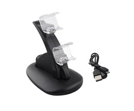 LED Dual USB Charging Dock Docking Charger Cradle Station Stand for Sony Playstation 4 PS4 Game Controller  <br />  ALLOYSEED