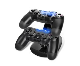 Dual Controller Laadstation voor Sony PlayStation 4 PS4 USB Opladen Adapter Cradle PS4 Gaming Controller Charger <br />  Floveme