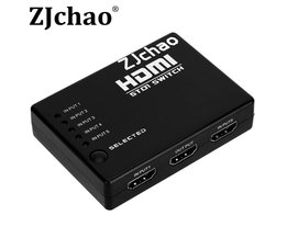 Mini Full1080P 5 Port HDMI Switch 5x1 HDMI Switcher 5 ingang 1 output Splitter Hdmi-poort voor HDTV 1080 P Video met Afstandsbediening controle <br />  VBESTLIFE