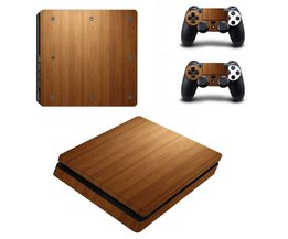Vinyl game beschermende huid sticker voor playstation 4 decal cover sticker voor ps4 gaming console 2 controller houtnerf serie <br />  MyXL