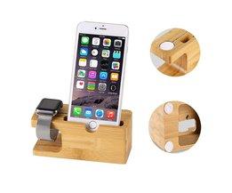 Hout Telefoon Stand Opladen Bracket Houder voor iPhone 7 plus 6 S Plus SE 5 5 S voor ik Horloge Natuurlijke Bamboe Opladen Dock Station <br />  WATERWICH