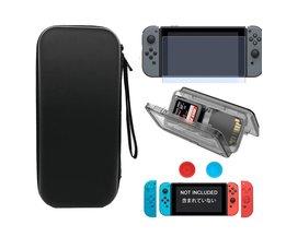 Reizen Beschermende Harde Tas Shell + Silicone Case + Grips Caps + Card Case + Gehard Glas Film voor Nintendo Switch Console &amp; Controller <br />  LINGHUANG
