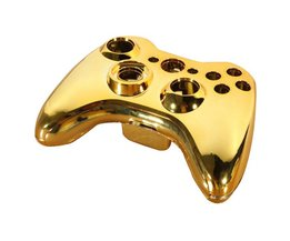 Laagste Prijs Gold Glossy Chrome Draadloze Controller Vervanging Volledige Behuizing Shell Case + Componenten Cover Button Kit voor Xbox 360 <br />  ShirLin