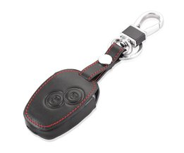 2 knoppen Lederen autosleutel case voor Renault Clio Dacia Logan Sandero Megane Modus Espace Kangoo sleutelhanger <br />  Thie2e