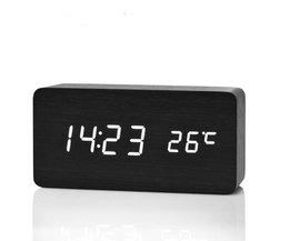 Digitale houten wekker met thermometer