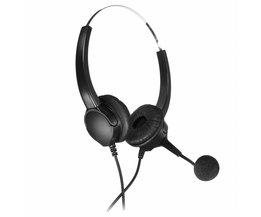 Handsfree Callcenter Binaural Hoofdtelefoon Telefoon Vaste Headset Hoofdtelefoon Met Microfoon Noise Cancelling