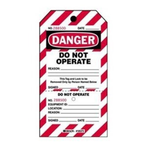 Two-part perforated tags ''DO NOT OPERATE'' 105371