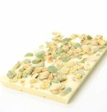 A bar of white chocolate with wasabi peanuts