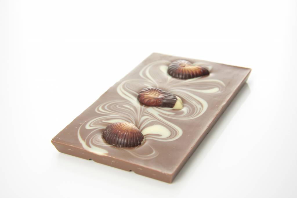 A milk chocolate bar with chocolate seafood
