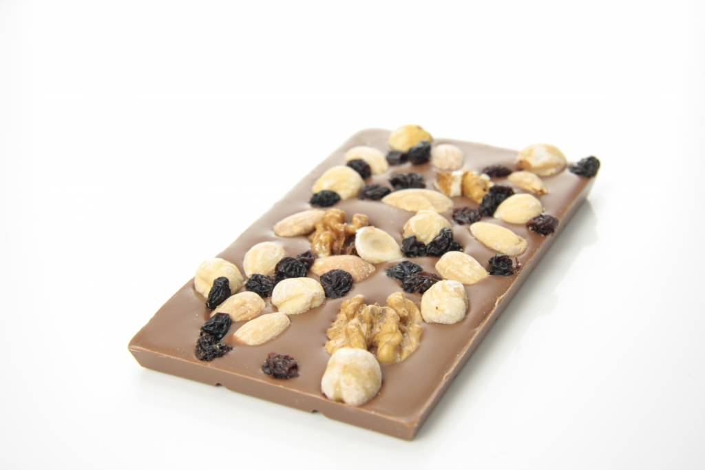A milk chocolate bar with trail mix