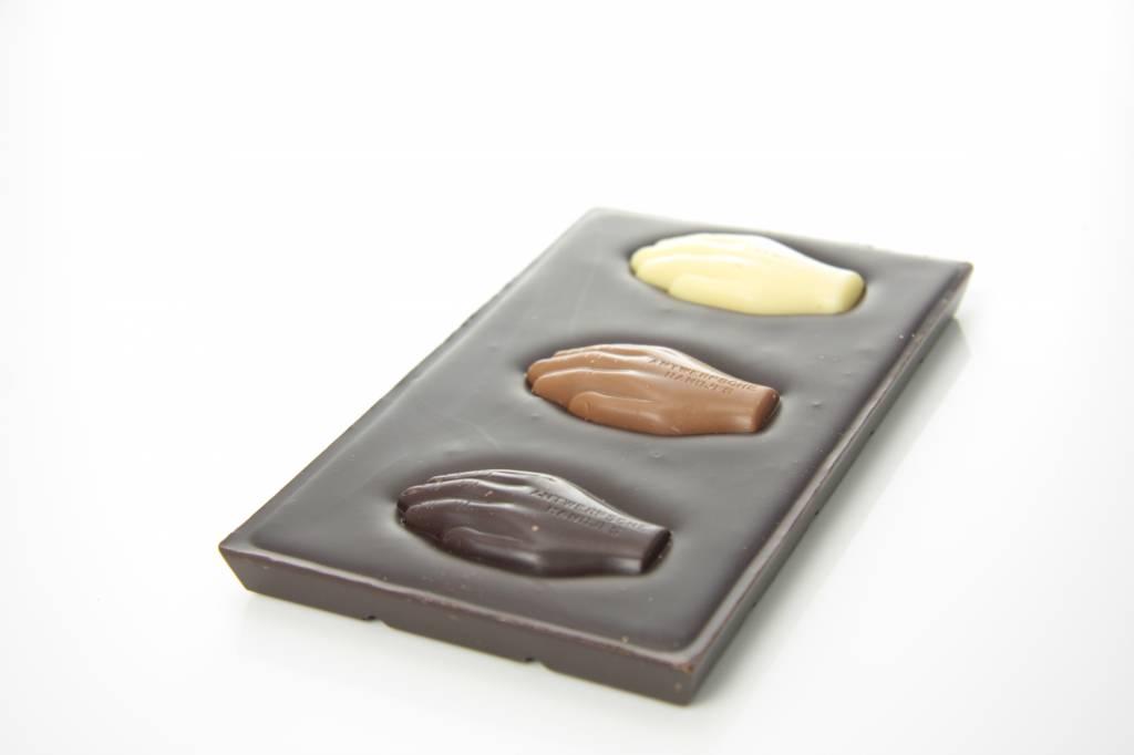 Tablet pure chocolade met Antwerpse Handjes