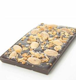 Pure chocolade amandel, caramel en zeezout