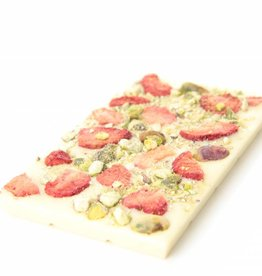 White chocolate with strawberry and pistachio nuts