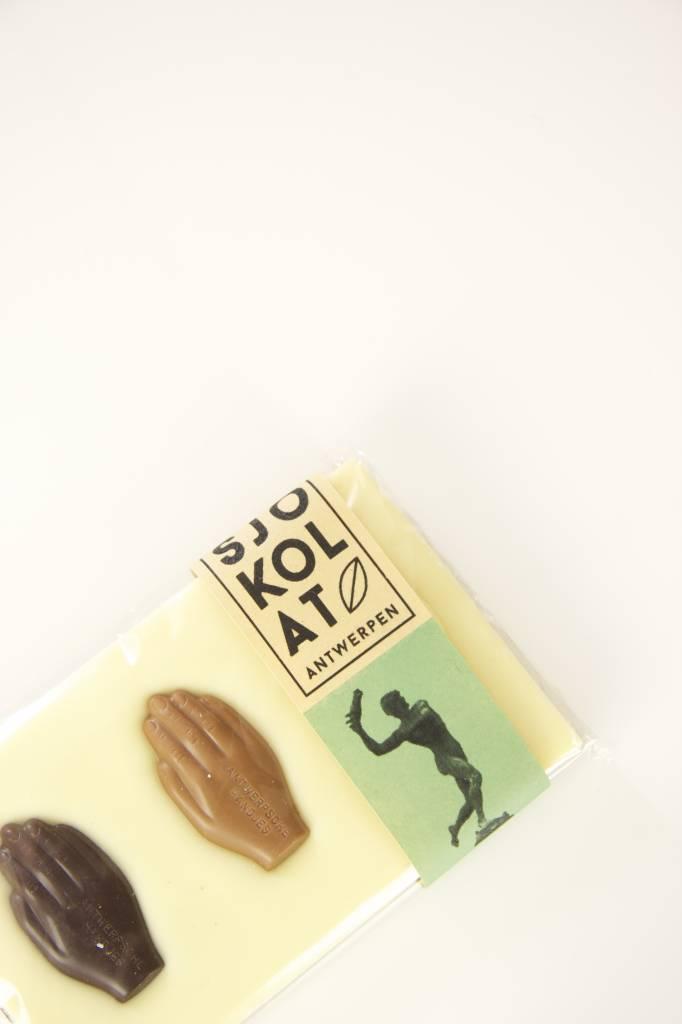 Tablet witte chocolade met Antwerpse Handjes