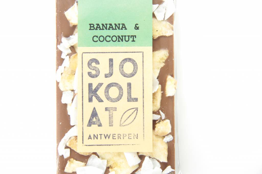 A bar of milk chocolate with banana and coconut