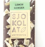 A dark chocolate bar with ginger and lemon