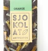 A bar of dark chocolate with orange
