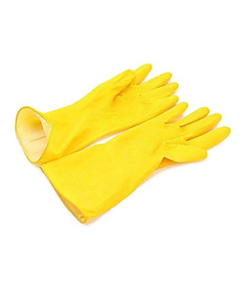 Handschoen latex, geel, maat M