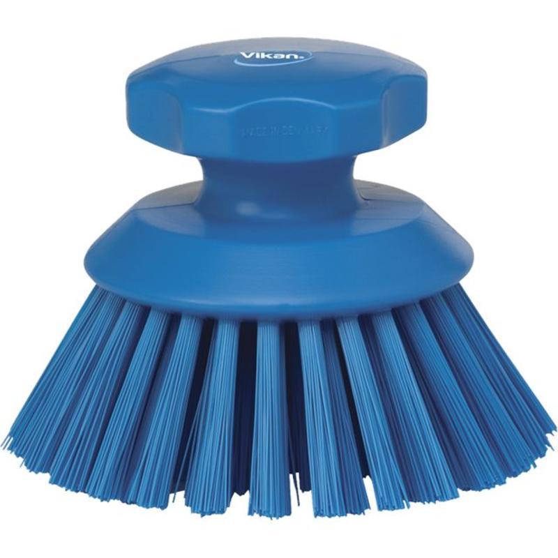 Vikan Ronde werkborstel polyester vezels, hard Ø110x110mm blauw