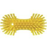 Vikan Vikan Grote ergonomische werkborstel polyester vezels, hard, met wijd uitstaande vezels 250x120x60mm geel