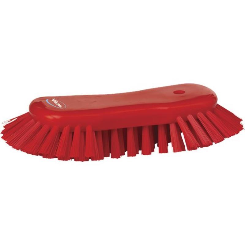 Vikan Grote ergonomische werkborstel polyester vezels, hard, met wijd uitstaande vezels 250x120x60mm rood