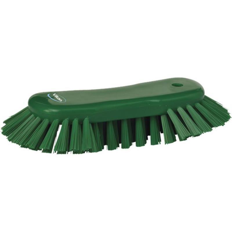 Vikan Grote ergonomische werkborstel polyester vezels, hard, met wijd uitstaande vezels 250x120x60mm groen