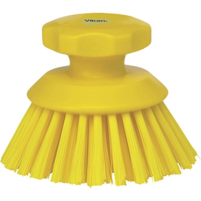 Vikan Ronde werkborstel polyester vezels, hard Ø110x110mm geel