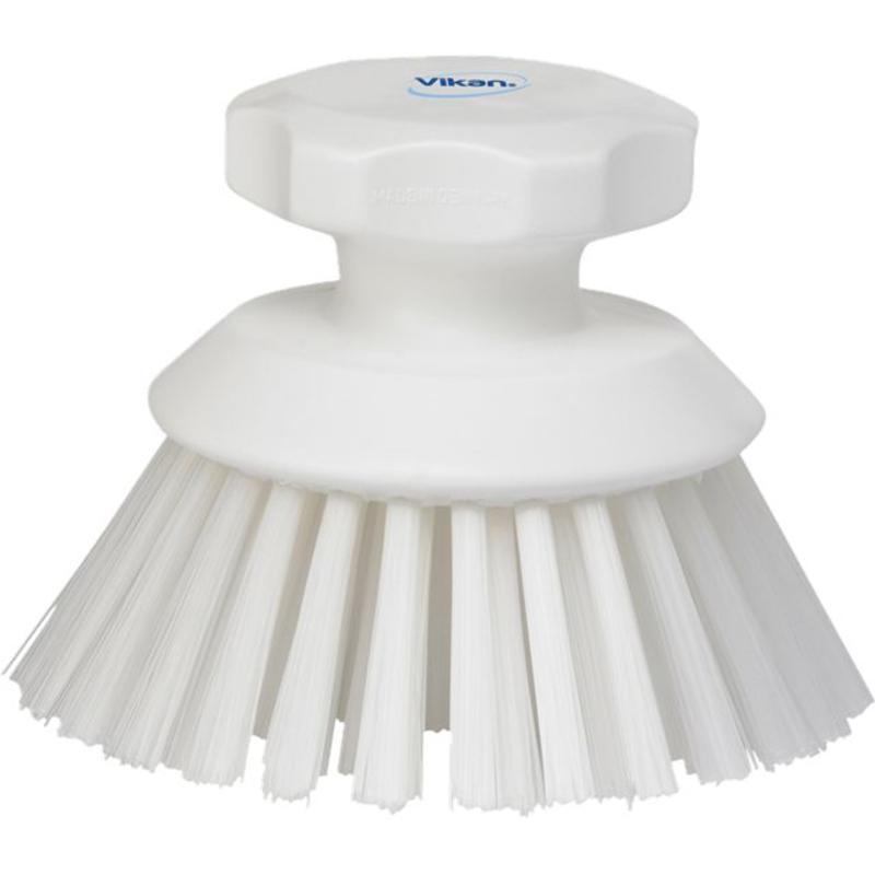 Vikan Ronde werkborstel polyester vezels, hard Ø110x110mm wit