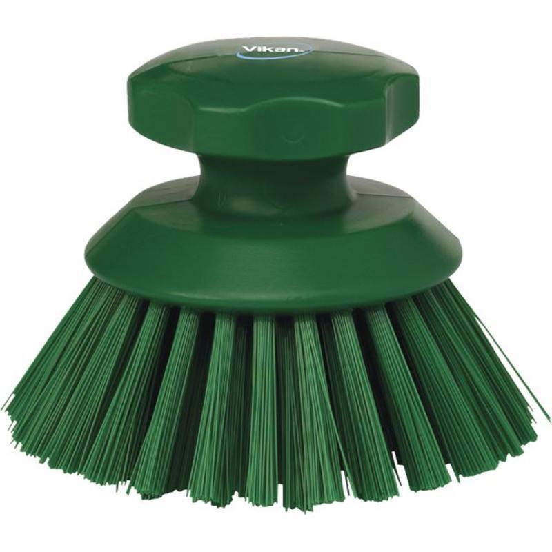 Vikan Ronde werkborstel polyester vezels, hard Ø110x110mm groen