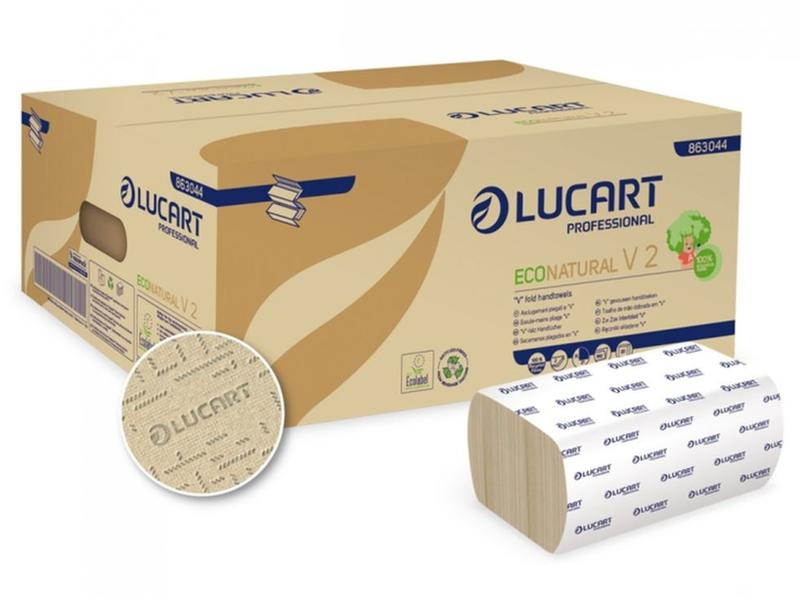 Lucart Vouwhanddoekjes Z-vouw, 21cm breed, 2-laags, recycled tissue wit