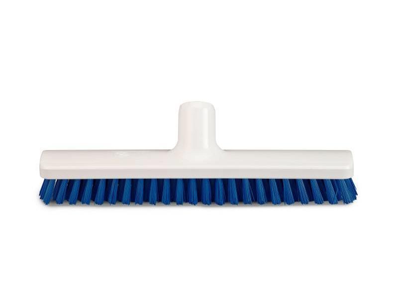 Eigen merk Vloerborstel / bezem blauw - 30cm