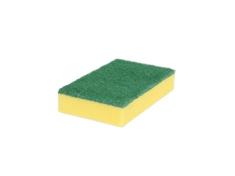 Eigen merk Schuurspons geel met groene pad (pak á 10 stuks)
