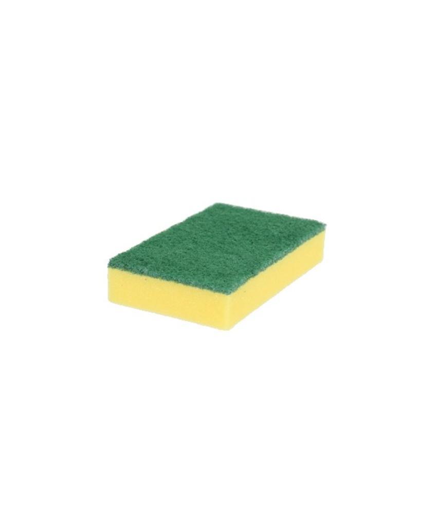 Schuurspons geel met groene pad (pak á 10 stuks)
