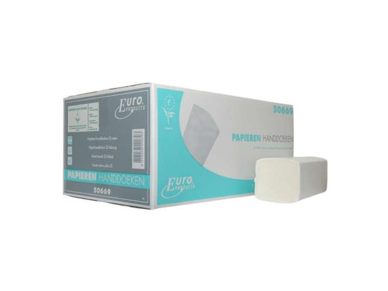 Euro Products Vouwhanddoekjes tissue wit Z-vouw, 2 laags
