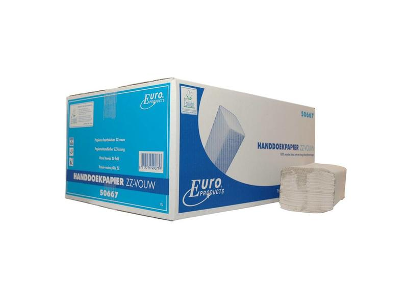 Euro Products Vouwhanddoekjes ECO Recycled tissue Z-vouw, 2 laags