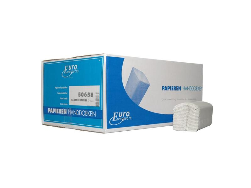 Euro Products Vouwhanddoekjes Euro tissue wit C-vouw, 2 laags