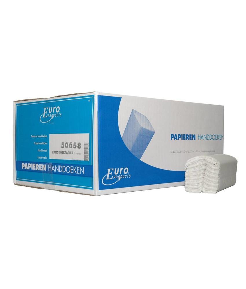 Vouwhanddoekjes Euro tissue wit C-vouw, 2 laags