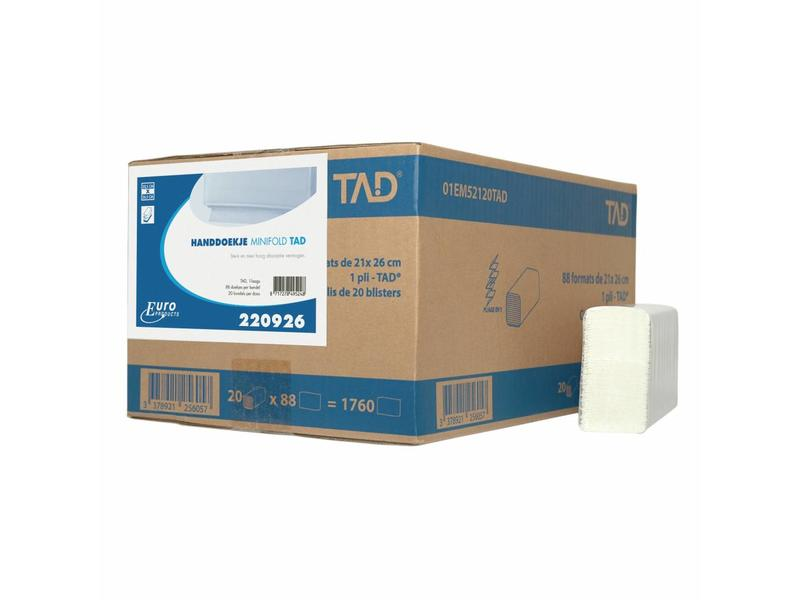 Euro Products Vouwhanddoekjes Euro Minifold cellulose, 2 laags