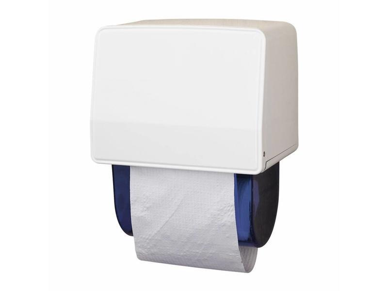 Eigen merk Dispenser Dudley Handdoekrolautomaat, staal, wit gemoffeld