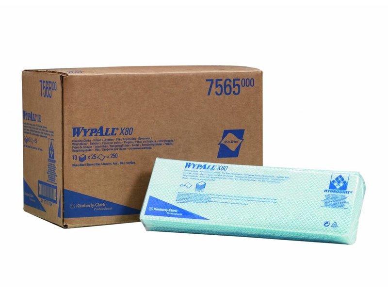 Kimberly Clark  WYPALL* X80 Sopdoeken - Intergevouwen - Blauw